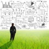Επιχειρησιακή γυναίκα με την έννοια επιχειρηματικών σχεδίων στον αέρα Στοκ Εικόνες