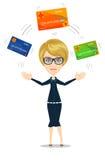 Επιχειρησιακή γυναίκα με την πιστωτική κάρτα για να πληρώσει Στοκ Εικόνες