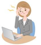 Επιχειρησιακή γυναίκα με τον πονοκέφαλο Στοκ Εικόνα