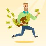 Επιχειρησιακή γυναίκα με το σύνολο χαρτοφυλάκων των χρημάτων ελεύθερη απεικόνιση δικαιώματος