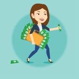 Επιχειρησιακή γυναίκα με το σύνολο χαρτοφυλάκων των χρημάτων Στοκ Εικόνα