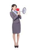 Επιχειρησιακή γυναίκα με megaphone να φωνάξει Στοκ εικόνες με δικαίωμα ελεύθερης χρήσης