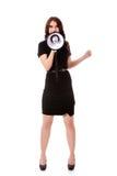 Επιχειρησιακή γυναίκα με megaphone που φωνάζει και που κραυγάζει Στοκ φωτογραφία με δικαίωμα ελεύθερης χρήσης
