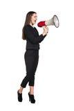Επιχειρησιακή γυναίκα με megaphone Στοκ Φωτογραφίες