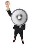 Επιχειρησιακή γυναίκα με megaphone Στοκ εικόνες με δικαίωμα ελεύθερης χρήσης