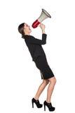 Επιχειρησιακή γυναίκα με megaphone Στοκ Φωτογραφία