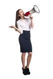 Επιχειρησιακή γυναίκα με megaphone Στοκ εικόνα με δικαίωμα ελεύθερης χρήσης