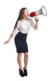 Επιχειρησιακή γυναίκα με megaphone Στοκ φωτογραφίες με δικαίωμα ελεύθερης χρήσης