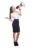 Επιχειρησιακή γυναίκα με megaphone Στοκ Εικόνα