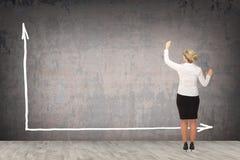 Επιχειρησιακή γυναίκα που επισύρει την προσοχή στον τοίχο Στοκ φωτογραφία με δικαίωμα ελεύθερης χρήσης