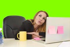 Επιχειρησιακή γυναίκα που εργάζεται γραφείων βασική οθόνη χρώματος φορητών προσωπικών υπολογιστών στην πράσινη Στοκ Εικόνες