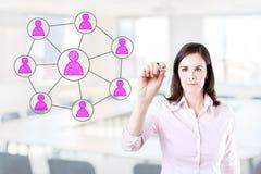 Επιχειρησιακή γυναίκα που σύρει την κοινωνική σύνδεση δικτύων Υπόβαθρο γραφείων Στοκ εικόνα με δικαίωμα ελεύθερης χρήσης