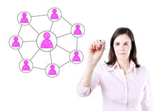 Επιχειρησιακή γυναίκα που σύρει την κοινωνική σύνδεση δικτύων Στοκ Εικόνες