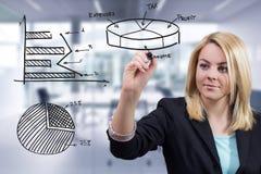 Επιχειρησιακή γυναίκα που σύρει τρία διαγράμματα στο γραφείο Στοκ φωτογραφία με δικαίωμα ελεύθερης χρήσης