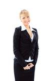Επιχειρησιακή γυναίκα που χαμογελά πέρα από την άσπρη ανασκόπηση στοκ φωτογραφία