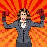 Επιχειρησιακή γυναίκα στα εγκιβωτίζοντας γάντια που γιορτάζει την επιτυχία στην επιχείρηση Λαϊκή τέχνη διανυσματική απεικόνιση