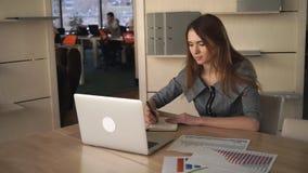 Επιχειρησιακή γυναίκα στα προσωπικές διαγράμματα και την έκθεση Cheking γραφείων απόθεμα βίντεο
