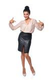 Επιχειρησιακή γυναίκα στο πλήρες μήκος που δείχνει σε την Στοκ Εικόνες