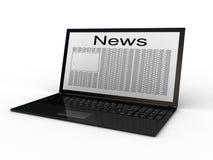 Επιχειρησιακή εφημερίδα στο lap-top απεικόνιση αποθεμάτων