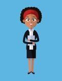 Επιχειρησιακή ηγεσία γυναικών afro κινούμενων σχεδίων με το φάκελλο Στοκ Εικόνες