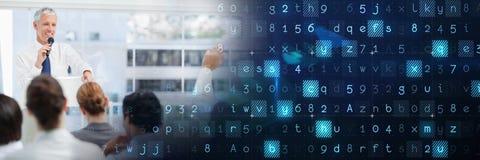 Επιχειρησιακή διάσκεψη με την μπλε έξυπνη μετάβαση τεχνολογίας Στοκ Φωτογραφίες