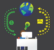 Επιχειρησιακή διαδικασία Infographic Επίπεδο gesign Στοκ Εικόνες