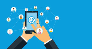 Επιχειρησιακή κινητή επαφή και κοινωνική έννοια μάρκετινγκ δικτύων απεικόνιση αποθεμάτων