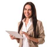 Επιχειρησιακή κυρία με τη συσκευή Στοκ Εικόνες