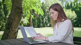 Επιχειρησιακή κυρία που χρησιμοποιεί ένα lap-top στο πάρκο Στοκ φωτογραφία με δικαίωμα ελεύθερης χρήσης