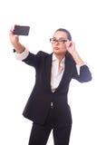 Επιχειρησιακή κυρία selfie Στοκ Φωτογραφία