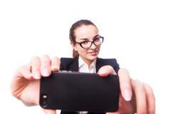 Επιχειρησιακή κυρία, selfie Στοκ Εικόνες