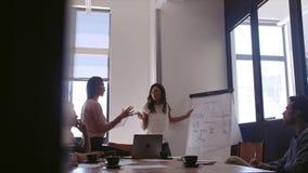 Επιχειρησιακή ομάδα που διοργανώνει τη συνεδρίαση της στρατηγικής στην αρχή φιλμ μικρού μήκους