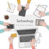 Επιχειρησιακή ομάδα που εργάζεται μαζί στο γραφείο γραφείων Υπολογιστής γραφείου με τα χέρια, το lap-top, το smartphone, τα έγγρα διανυσματική απεικόνιση