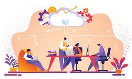 Επιχειρησιακή ομάδα που εργάζεται μαζί χρησιμοποιώντας την υπηρεσία σύννεφων ελεύθερη απεικόνιση δικαιώματος