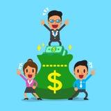Επιχειρησιακή ομάδα επιχειρησιακής έννοιας και μεγάλη τσάντα χρημάτων Στοκ Εικόνα