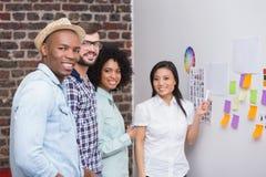 Επιχειρησιακή ομάδα με τις κολλώδεις σημειώσεις για τον τοίχο Στοκ Εικόνα