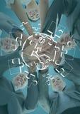 Επιχειρησιακή ομάδα που κοιτάζει κάτω από να βάλει τα χέρια μαζί πίσω από το άσπρο τορνευτικό πριόνι doodle και ενάντια στο μπλε  στοκ εικόνες