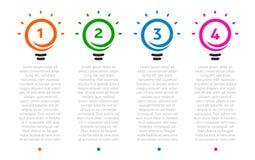 Επιχειρησιακή παρουσίαση, πίνακας με την υπόδειξη ως προς το χρόνο 4 lightbulbs Αριθμός επιλογών, λογότυπο ιδεών, εικονίδια βημάτ απεικόνιση αποθεμάτων