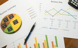 Επιχειρησιακή περίληψη ή έκθεση επιχειρηματικών σχεδίων με τα διαγράμματα και τις γραφικές παραστάσεις στην επιχειρησιακή έννοια Στοκ εικόνες με δικαίωμα ελεύθερης χρήσης