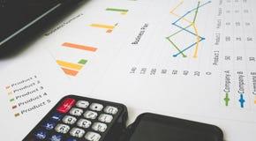 Επιχειρησιακή περίληψη ή έκθεση επιχειρηματικών σχεδίων με τα διαγράμματα και τις γραφικές παραστάσεις στην επιχειρησιακή έννοια Στοκ Εικόνες