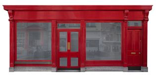 Επιχειρησιακή πρόσοψη με την κόκκινη ξύλινη είσοδο που αποκόπτει στο άσπρο υπόβαθρο διανυσματική απεικόνιση