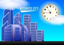 Επιχειρησιακή πόλη Ρολόγια και ουρανοξύστες ενάντια σε έναν μπλε ουρανό με τα σύννεφα διανυσματική απεικόνιση