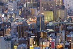 Επιχειρησιακή στο κέντρο της πόλης εναέρια άποψη πόλεων της Οζάκα Στοκ Φωτογραφία