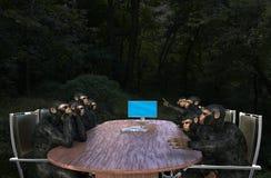 Επιχειρησιακή συνεδρίαση πιθήκων, πωλήσεις, μάρκετινγκ διανυσματική απεικόνιση