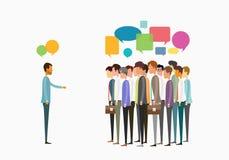 Επιχειρησιακή συνεδρίαση ανθρώπων ομάδας και έννοια επιχειρησιακών επικοινωνιών διανυσματική απεικόνιση