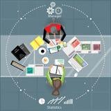 Επιχειρησιακή συνεδρίαση και 'brainstorming' Επίπεδο σχέδιο Στοκ Φωτογραφία