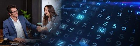 Επιχειρησιακή συνεδρίαση με την μπλε έξυπνη μετάβαση τεχνολογίας Στοκ Εικόνα