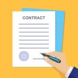 Επιχειρησιακή σύμβαση με την υπογραφή Επίπεδο ύφος Διανυσματικό illuatratio Στοκ Φωτογραφίες