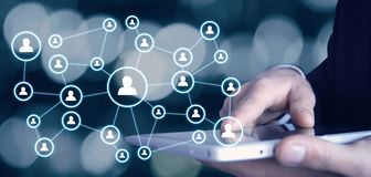 Επιχειρησιακή σύνδεση εκμετάλλευσης επιχειρηματιών και κοινωνικό δίκτυο Στοκ Εικόνες