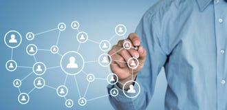 Επιχειρησιακή σύνδεση εκμετάλλευσης επιχειρηματιών και κοινωνικό δίκτυο Στοκ Φωτογραφίες
